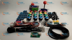 Arcade parts Bundles kit With red Joystick mix colors silver buttons Microswitch 2 player USB to Jamma Build Up Arcade cabinet
