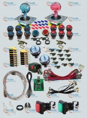 Arcade parts Bundles kit With LED Joystick chrome Illuminated buttons Microswitch 2 player USB to Jamma Build Up Arcade cabinet