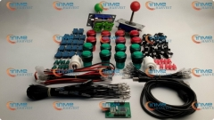 Arcade parts Bundles kit With red & green Joystick + red & green Illuminated buttons Microswitch 2 player USB adaptor for Arcade