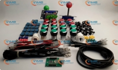 Arcade parts Bundles kit With red & green Joystick + red & green silver buttons Microswitch 2 player USB adaptor for Arcade cab