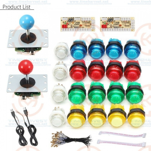 2 Players DIY Arcade Joystick Kits With 20 LED Arcade Buttons + 2 Joysticks + 2 USB Encoder Kit + Cables Arcade Game Parts Set
