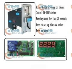Coin operated timer control device with coin selector & timer board for cafe kiosk/washing machine/water machine/game machine
