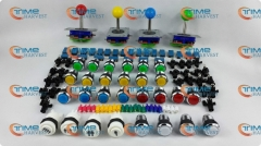 Arcade parts Bundles kit With Joystick Chrome Pushbutton Microswitch 1P 2P 3P 4P Button to Build Up Arcade Machine By Yourself