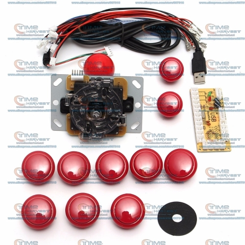 DIY arcade joystick handle set kits 5 pin 24mm / 30mm push buttons spare parts USB cable to PC joystick button USB encoder plate