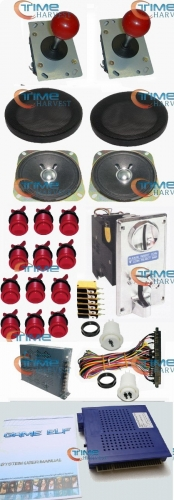 1set Arcade parts Bundles kit With 750 in 1 PCB 16A Power Supply long shaft Joystick buttons Harness Speaker for Arcade Machine