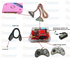 1 set JAMMA extender + CBOX converter + Pandora box 6 + 12V 8A power adapter + original Saturn joypads + Video cable for TV game