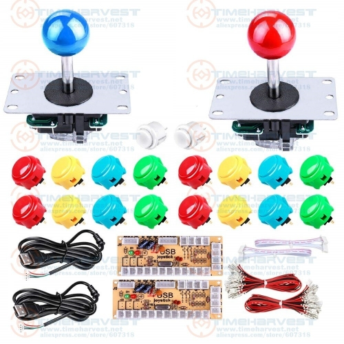 2 Players DIY Arcade Joystick Kits set With 18 original Sanwa Buttons + 2 Sanwa Joysticks + 2 USB Encoder + all wires necessary