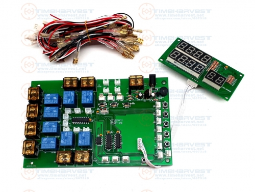 8 channels timer board Count PCB Coin operated Timer control board 1-8 devices Power Supply timer controller for with all wires