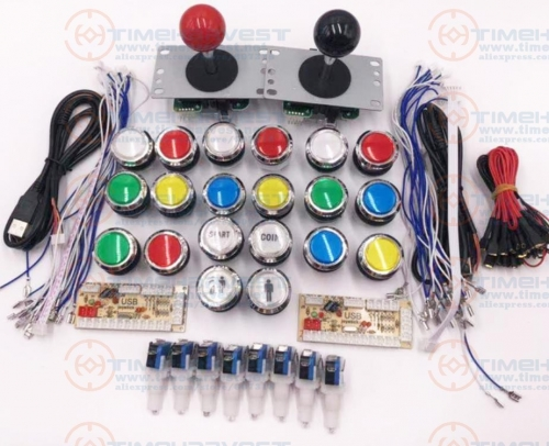Arcade parts Bundles kit With American button or Chrome LED button Zero Delay USB Encoder good Joystick Build Up Arcade Console