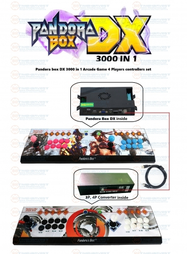 Pan dora box DX 3000 in 1 arcade game console 4 Players controller set support 3P 4P game Save Game progress can add 5000 games